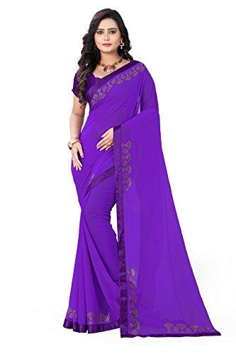 Riva Enterprise women's Georgette stone work purple color saree with blouse (RIVA58_)