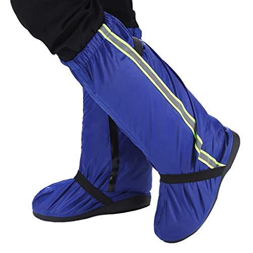 JERPOZ Wasserdichtes Schuhfahrradreitschuh Wieder Verwendbare Befestigungsmittel Schuh Anti-Rutsch-Schutzstiefel Regenstiefel (Color : Blue, Size : XL)