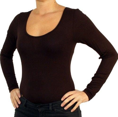 9789 Mesdames blouse corps, chemise corps, manches longues, avec le U-col, vert, beige, blanc, noir, rouge, marron, gris, bleu. marron foncé