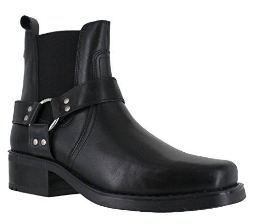 Gringos M486Harley Leder-Stiefeletten für Herren, Biker-/Cowboy-Stil, Schwarz - schwarz - Größe: 44 (Biker-schwarz-leder)