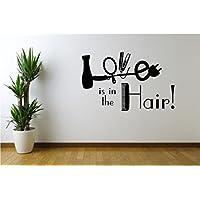 Online Design Amor Está En el pelo Vinilo de pared Peluquería Salón de belleza