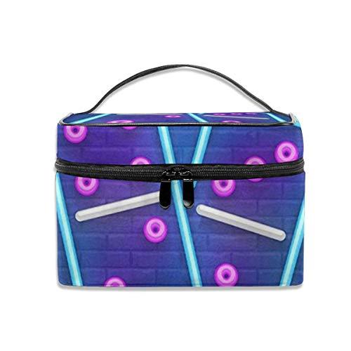 Ladies\'portable Travel Cosmetic Bag, Multi-Functional Portable Bag, Finishing Bag-Neon Dominoes Sign