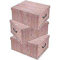 Lot de 3 boîtes de rangement de 3 couleurs (blanc, noir et gris), avec un contenu de 45 litres chacune, motif floral…