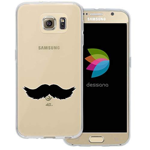 (dessana Mustache Transparente Schutzhülle Handy Case Cover Tasche für Samsung Galaxy S6 Walross Bart)