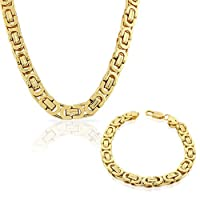 Stainless Steel Yellow Gold-Tone Mens Link Chain Necklace and Bracelet Set