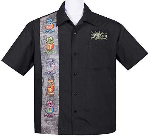 Rat Fink FIVE FINKS Panel Button Up 50s Bowling Shirt HEMD Rockabilly (Button-up-shirt Panel)