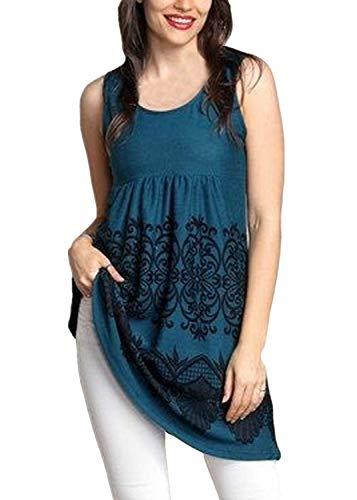 Yvelands Damen Weste Tank Top Lässig Rundhals Pullover Ärmelloses T-Shirt Kleid Schlank Druck Plus Size Tops Bluse(Blau1,CN-5XL)