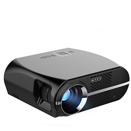 MTFY LCD Beamer, 3500 Lumen Videoprojektor 1080P Full-HD LED Bewegliche Multimedia-Heimkino-Projektoren für Film, Fernsehapparate, Laptope, Spiele, DVD, PC, Laptop Unterstützung HDMI, USB, VGA