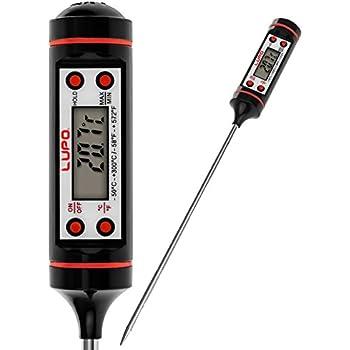 LUPO Thermomètre Numérique pour Aliments à la Viande - Température de Lecture Instantanée - Écran LCD - Sonde Longue