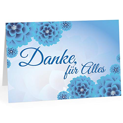 Große Dankeskarte XXL (A4) als Dankeschön/Danke, für Alles blau/mit Umschlag/Edle Design Klappkarte/Danke sagen/Danksagung/Danke sehr/Extra Groß/Edle Maxi Gruß-Karte