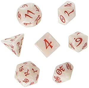 Q WORKSHOP Classic Pearl & Red RPG Ornamented Dice Set 7 polyhedral Pieces