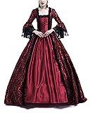 Vestido De Encaje De Manga Larga para Mujer Disfraz De Fiesta Medievales Adultos Maxi Vino Rojo 3XL