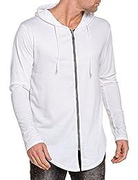 Celebry tees - Gilet zippé oversize blanc homme à capuche