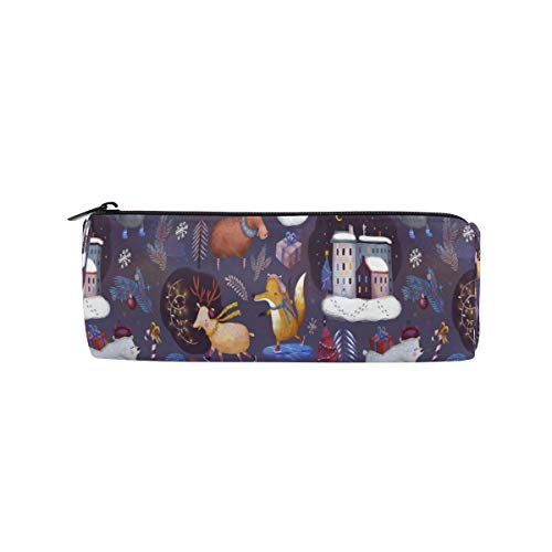 el Weihnachten Winter Happy Animal Schneemann Runde für Jungen Kinder Teens Stifthalter Kosmetik Make-up Tasche Schreibwaren Beutel Tasche mit großer Kapazität ()