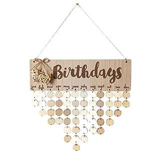 BESTOYARD Geburtstagskalender Holz Birthdays Immerwährender Vintage DIY Kalender mit Herzform Scheiben