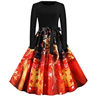 Lucky H Plus Size Ladies Retro Christmas Swing Dress Long Sleeve Criss Cross Vintage Cocktail Party Gown Evening Dress Womens A Line Mini Dress,Women Christmas Dress1950s Printed Party Dress