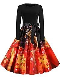 Auifor Vestido Vintage de Manga Larga con Estampado navideño de Manga Larga para Mujer Vestido de Fiesta de Fiesta de ama de casa de los años 50