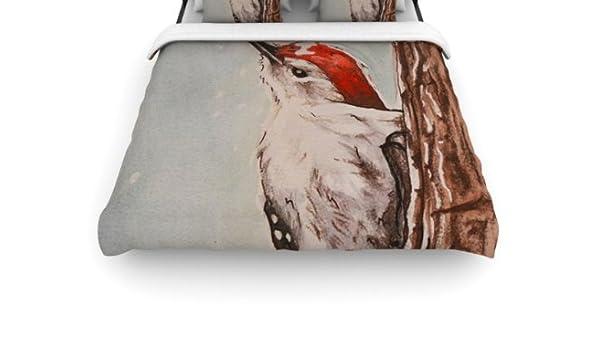 KESS InHouse Brittany Guarino Downy Woodpecker Queen Comforter 88 X 88
