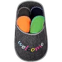 Pantoufle géante Welcome (32/2051) range-chaussons + 4 paires de chaussons de couleurs assorties pour tailles 38, 40, 43 et 45 En Feutre de qualité supérieure 100% Polyester Idée cadeau fun