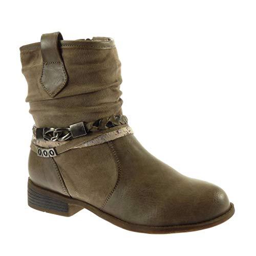Angkorly - Damen Schuhe Stiefeletten Stiefel - Biker - bi-Material - Folk - Multi-Zaum - Geflochten - Fantasy Blockabsatz 3 cm - Khaki F2871 T 36