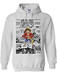 One Piece Monkey Luffy Manga Comic Manga White Men Women Unisex Hooded Sweatshirt Hoodie