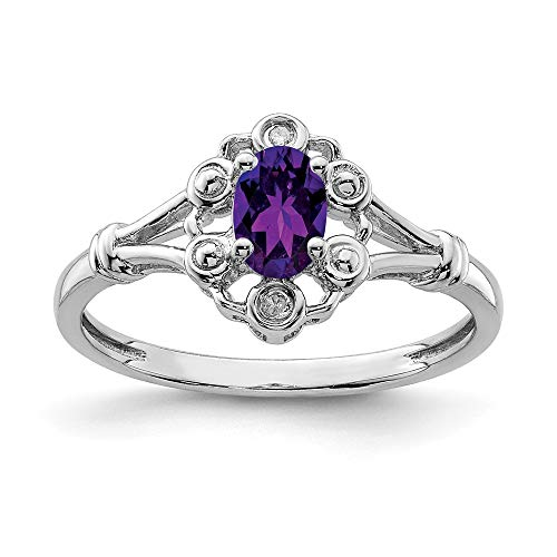 Sonia Jewels 925 Solid Sterling Silver Engagement Ring, Violet Simulated February Birthstone, Simulated Amethyst and Diamond (0,02 Carat). (2 mm)