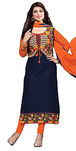 Lovender Fashion Women's Cotton Embroidery Work Semi-Stitched Salwar Suit Dress Material (Navy...