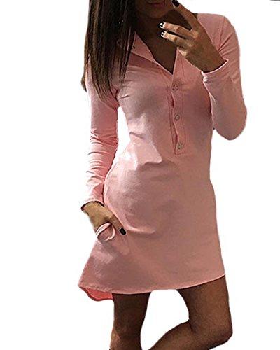 Auxo Femme Sexy Col V Irrégulier Manches Longues Lâche T-shirts Robe Casual Long Chemises Rose