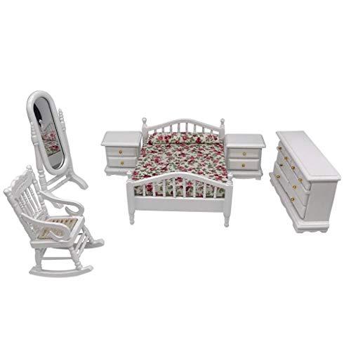 ToDIDAF Puppenhaus Zubehör, 1 Bett +2 Nachttisch +1 Spiegel +1 Schrank +1 Schaukelstuhl, Szenenmodell 1:12 Puppenhaus Miniatur Wohnmöbel, Lernspielzeug für Kinder, für Zuhause Garten Dekoration