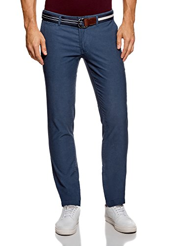 oodji Ultra Homme Pantalon Chino Slim Fit, Bleu, FR 40 / M
