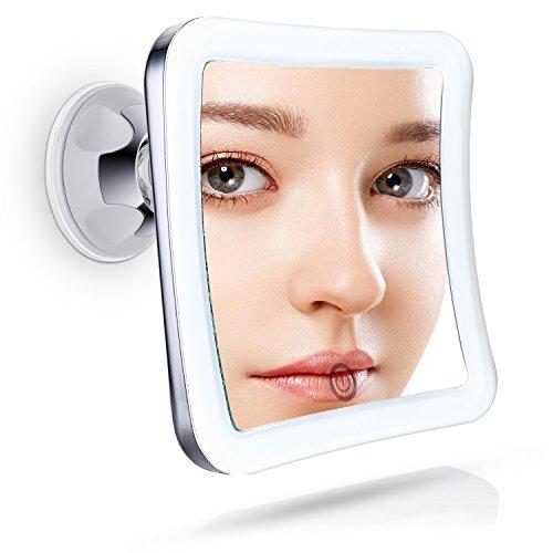 Miusco Kosmetikspiegel LED Beleuchtet mit 10-facher Vergrößerung und Starkem Saugnapf, Schminkspiegel mit Blendfreier Beleuchtung