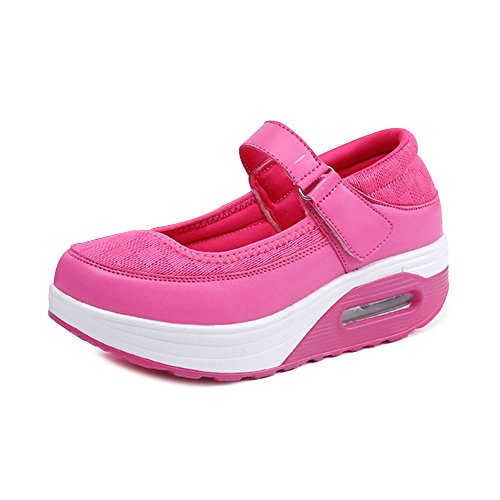 OCHENTA Femme Baskets Mode Ballerines Sport Confortable de Plein Air Chaussures de Marche Dame Printemps Eté Rose Rouge