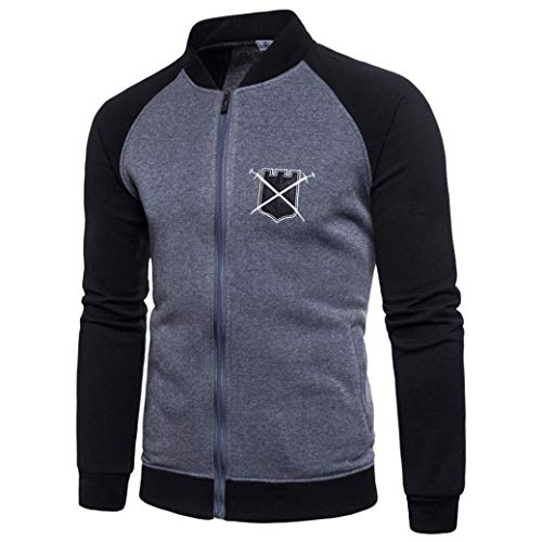 Herren Splicing Pullover Long Sleeve Hooded Sweatshirt Tops Blouse- Oversize Oberteil -Jumper Oberteile-Slim fit Halfzip Jacke-Basic Kapuzenpullover - Baumwollmischung ()