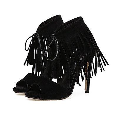 Fschooly Chaussures Femmes Similicuir Printemps Eté Confort Nouveauté Mode Bottes Talon Stiletto Sandales Pour Casual Party & Amp; Soir Noir Noir