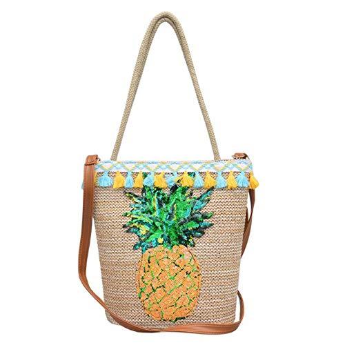 Bag-Haigeen Frauen Sommer Quaste Stroh Handtaschen Pailletten Ananas Strandtasche Boho Gewebt Umhängetaschen Korb Party Markt ping Tote -