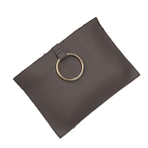 Neuer Umschlagbeutel Ringkupplungsbeutel Litchi Musterhandtaschen Koreanische Version Des Aktenpakets,Grey-OneSize