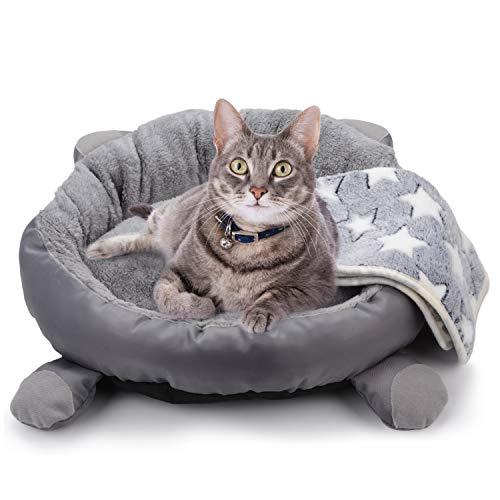 Legendog Katzenbett,Warmes Plüsch Katzenbett/tierbett Katze/Katzensofa/Haustierbett mit Katzendecke für Katzen Kätzchen und Kleine Hunde Schlafen