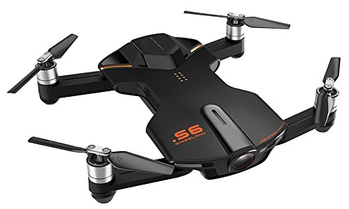wingsland VD-697011253018Selfie S6Drone avec appareil photo, vidéo 4K, Noir