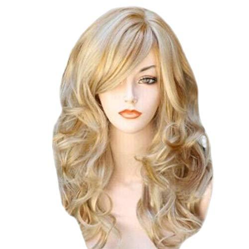 Perücke Blonde Perücken gewellte lockige lange hitzebeständige Faser Kostüm Party Perücken für ()