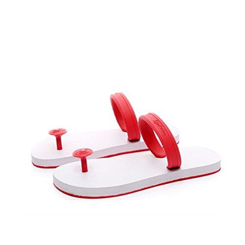 ALUK- Été - plat avec le mot trainer le fond de la plage pieds de sandales chaussons cool ( Couleur : Blanc , taille : 37-Shoes long235mm ) Blanc