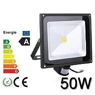 Himanjie® 50W LED Projecteur Extérieur et Intérieur avec Détecteur, Étanche IP65,Lumière Blanc Chaud(2800K-3500K), Éclairage de Sécurité led Spot Lumen 3500