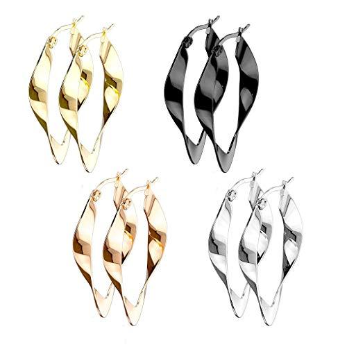 beyoutifulthings 4 Paar Damen Ohringe SET verdrehte CREOLEN OVALES-DESIGN Ohr-ringe Ohr-stecker Chirurgenstahl Multicolor