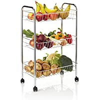 KitchenCraft Chrome-Plated Kitchen Trolley on Wheels with 3 Tiered Storage Baskets