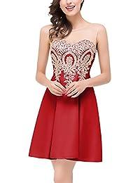 Mujer Vestidos De Fiesta Para Bodas Cortos Verano Elegantes Dresses Señoras Moderno Sin Mangas Cuello Redondo