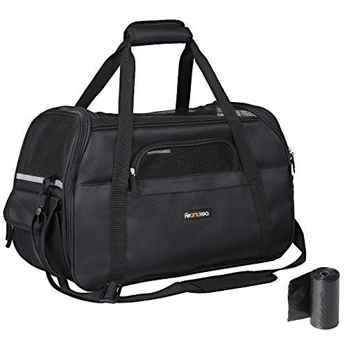 FEANDREA Hundetasche, Transporttasche Faltbare mit Handgriffen und Schultergurt, Katzentasche, für Auto, Zug und Flugzeug, für kleine Haustiere, schwarz 48 x 33 x 25 cm PDC51BK