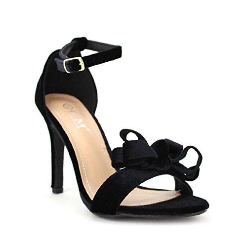 Cendriyon, Sandale Noire C'M Velours Chaussures Femme Noir