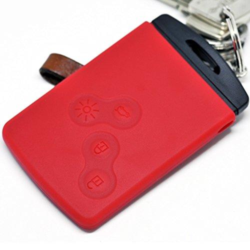 Soft Case Schutz Hülle Auto Schlüssel für Renault Captur Clio Grand Scenic ZOE Schlüsselkarte Remote/Farbe: Rot