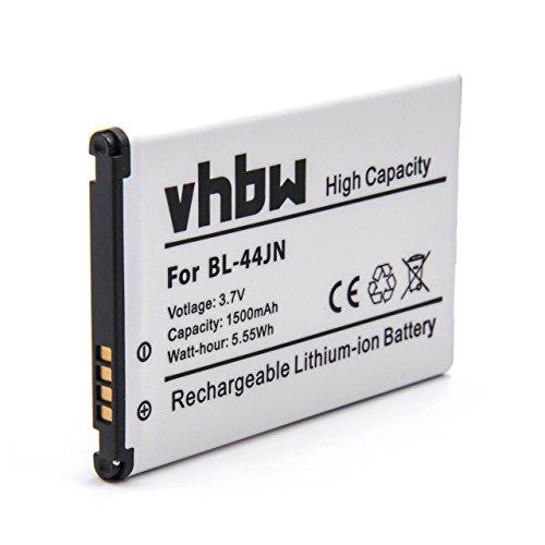 vhbw Li-Ion Akku 1500mAh (3.7V) für Handy Smartphone Telefon LG Optimus L5, Net, Pro, Q, Slider, Sol, White wie BL-44JN, 1ICP5/44/65, - Lg-optimus Slider-batterie