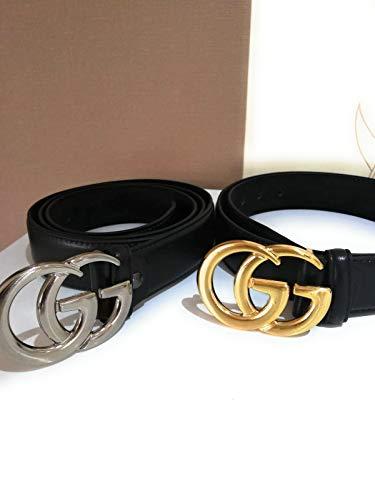 Mode schwarz gold Schnalle GG Frau Casual Gürtel (Breite 3,5 cm schwarzer Körper) (Schwarz/Gold Schnalle, 100cm)