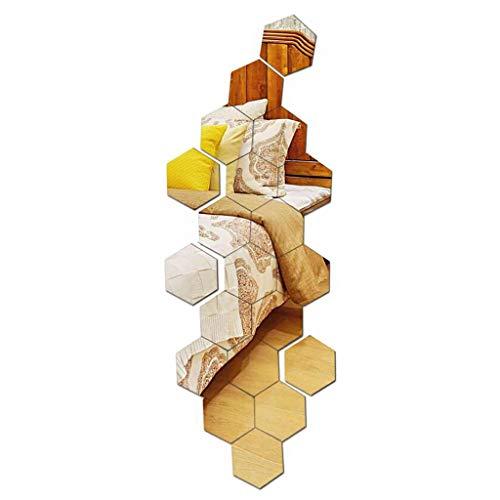 Multi-piezas 3D espejo hexagonal etiqueta pared arte